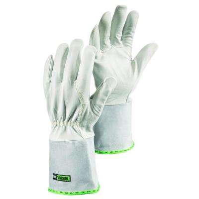 Sun Size 10 (X-Large) Mig / Tig Welding Glove With Flexible Goatskin 4 in. Cowhide Gauntlet in Grey