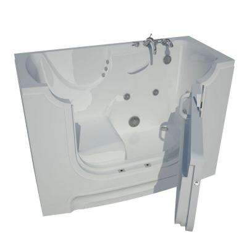 HD Series 60 in. Right Drain Wheelchair Access Walk-In Whirlpool Bath Tub with Powered Fast Drain in White