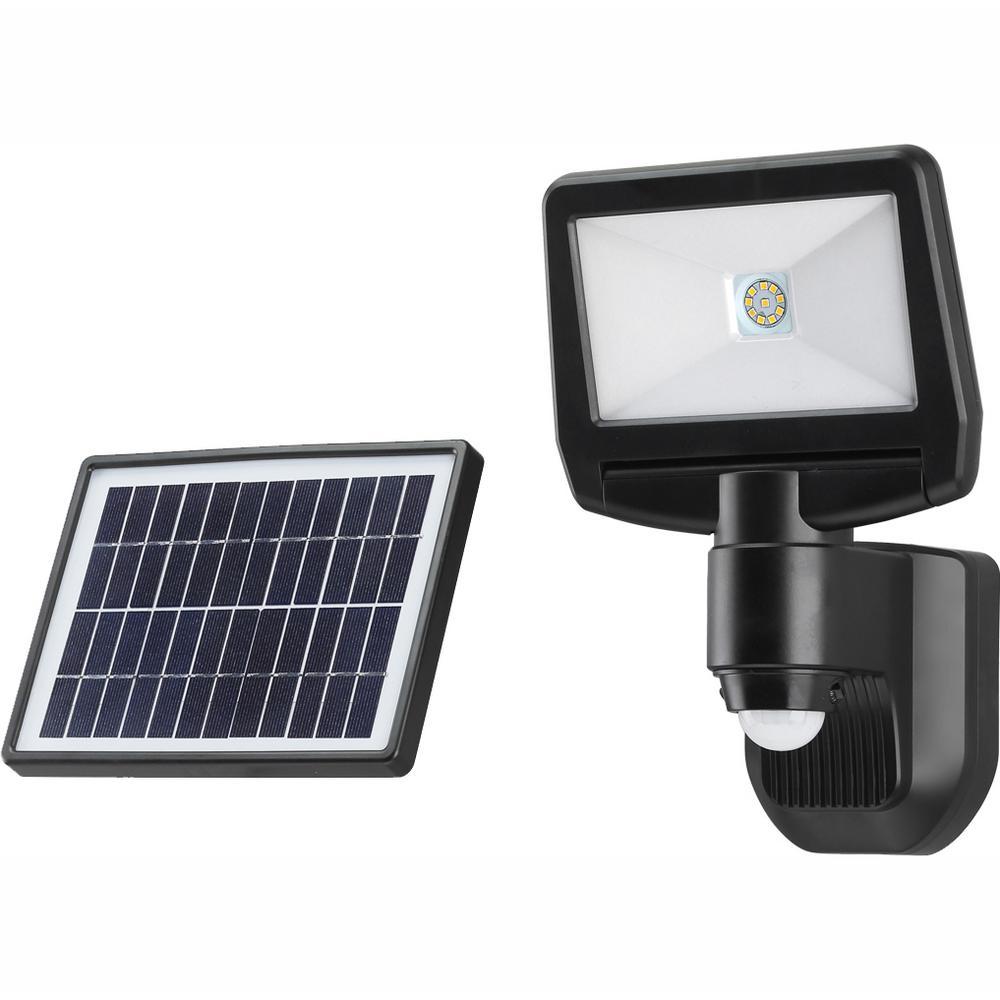 Link2home 900 Lumen Motion Activated Solar Security Light Integrated Led Flood Light Waterproof Dusk To Dawn Photocell Sensor Em Sl700b The Home Depot