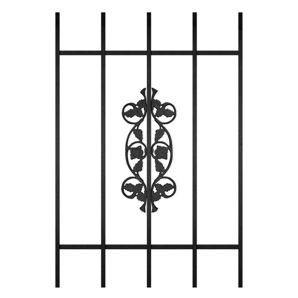 Unique Home Designs Rambling Rose 24 in. x 36 in. Black 5-Bar Window Guard-DISCONTINUED