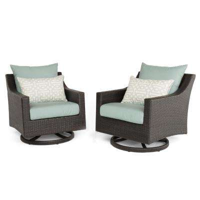 Deco 2-Piece All-Weather Wicker Patio Motion Club Chair Seating Set with Spa Blue Cushions