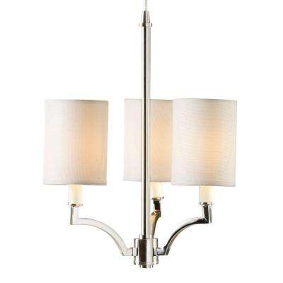 Claire l 15 in. 3-Light Brushed Nickel Small Instant Chandelier