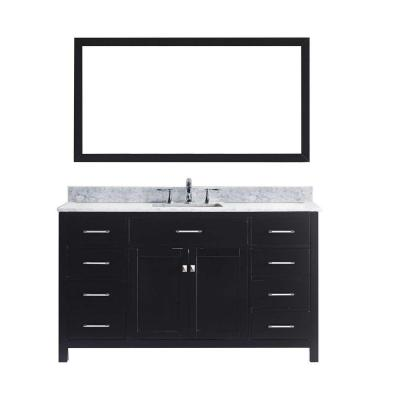 Caroline 60 in. W Bath Vanity in Espresso with Marble Vanity Top in White with Square Basin and Mirror
