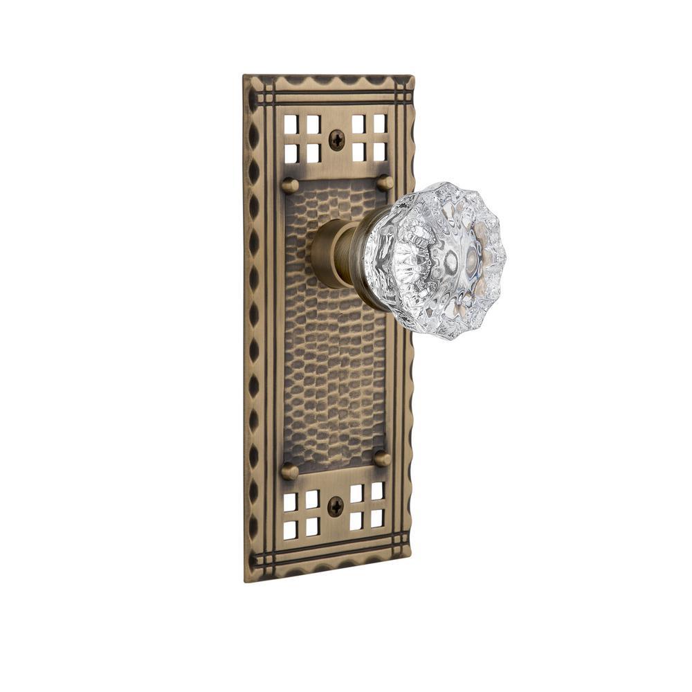 nostalgic warehouse craftsman plate single dummy crystal glass door knob in antique brass glass door knobs home depot n12 glass