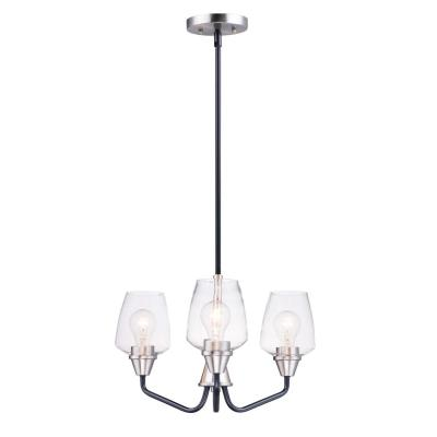 Goblet 19 in. W 3-Light Black/Satin Nickel Chandelier with Clear Shade