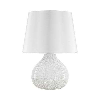 19 in. Aruba White Outdoor Table Lamp with Pure White Shade