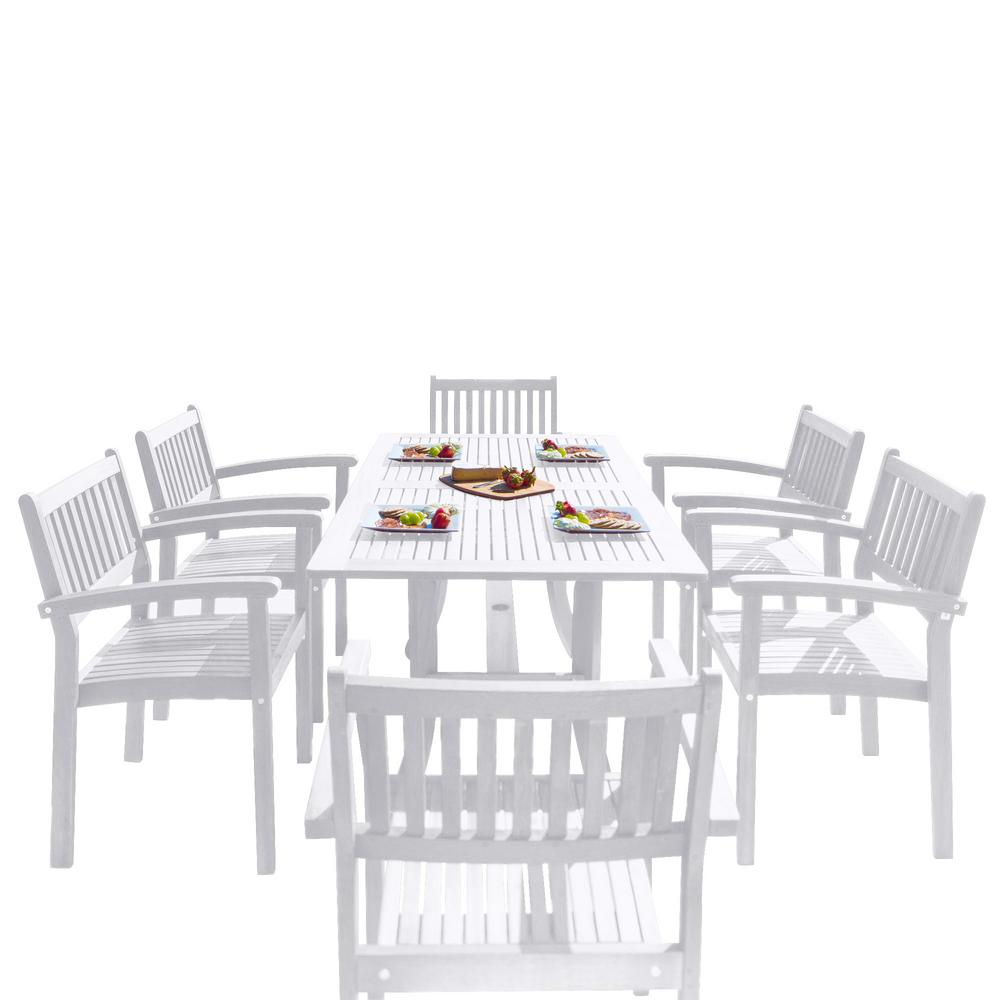 Vifah Braley Piece Wood Rectangular Outdoor Dining SetVSET - White rectangular outdoor dining table