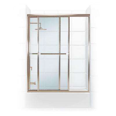 Paragon Series 52 in. x 58 in. Framed Sliding Tub Door with Towel Bar in Brushed Nickel and Clear Glass