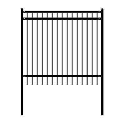 Nice Style 6 ft. x 6 ft. Black Unassembled Steel Fence Panel