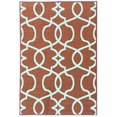 Rose Collection Contemporary Geometric Trellis Design Orange 3 ft. x 5 ft. Non-Skid Area Rug
