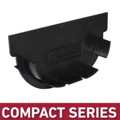 Compact Series End Cap for 3.2 in. Trench and Channel Drain Systems w/ Black Grate