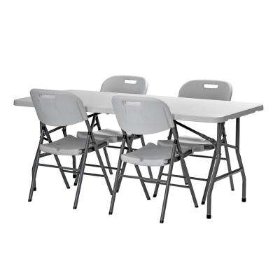 5-Piece White 72 in. x 30 in. Plastic Fold-in-Half Table and 4-Chair Set