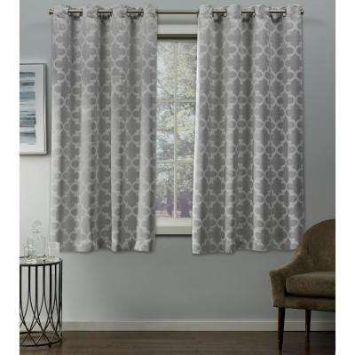 Cartago 54 in. W x 63 in. L Woven Blackout Grommet Top Curtain Panel in Dove Grey (2 Panels)
