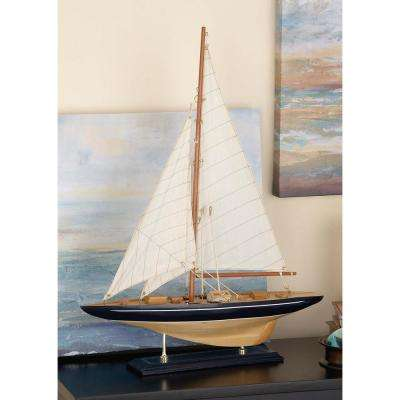 Sailboat Wood and Fabric Sculpture