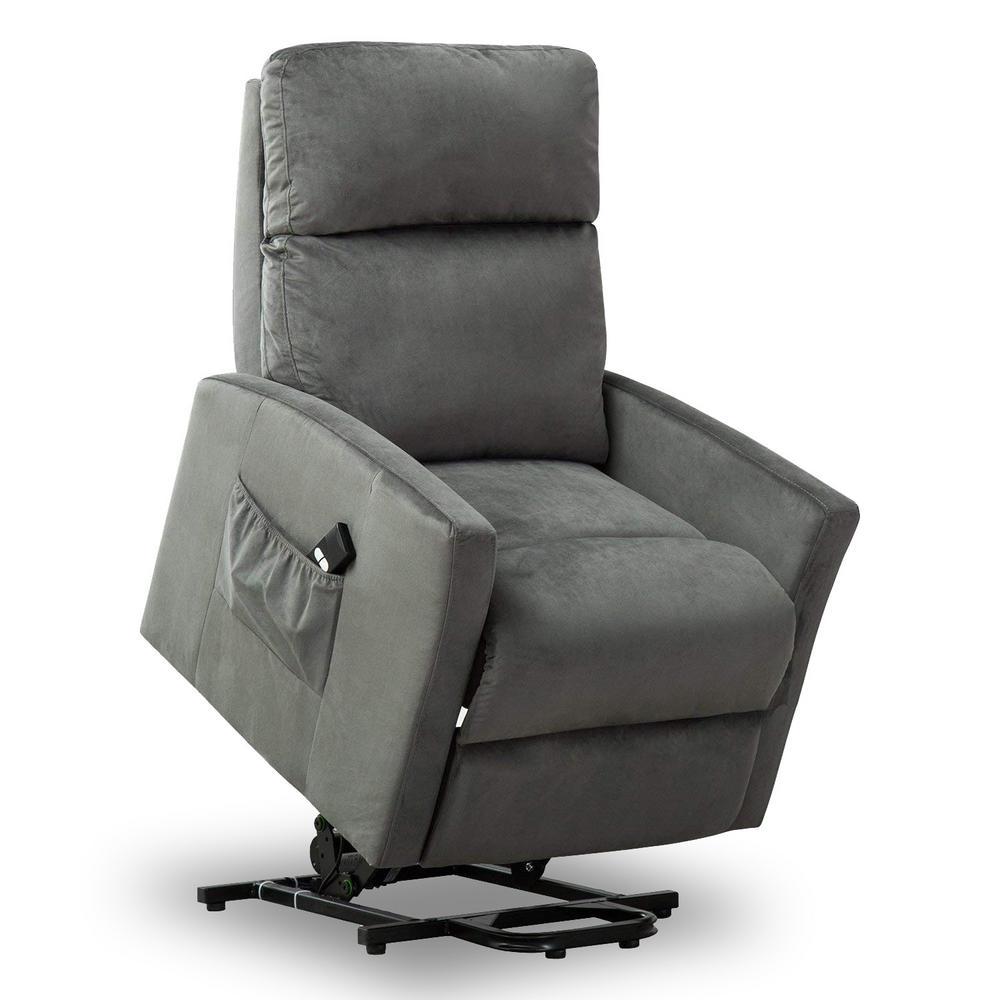 Grey Powel Lift Recliner Chair for Elderly Heavy Duty and Soft Fabric Single Sofa