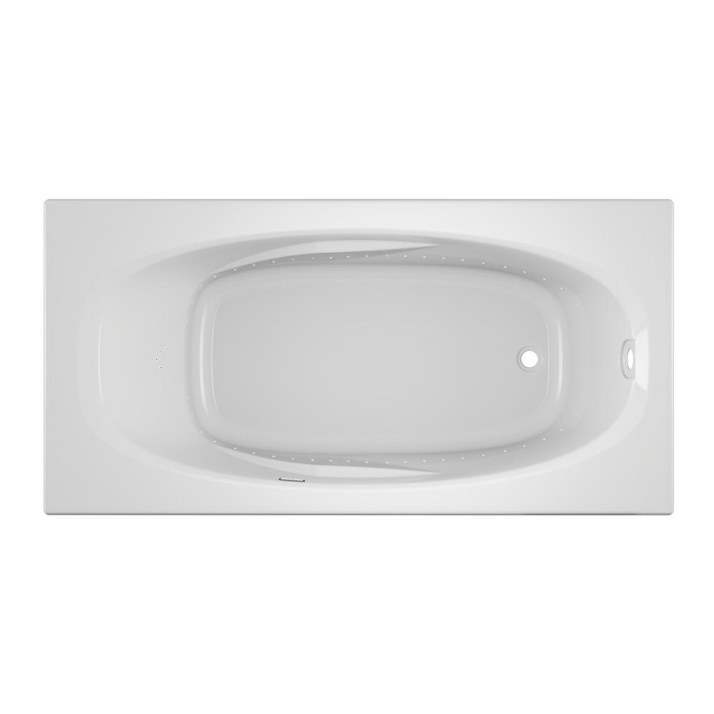 Jacuzzi Amiga Pure Air 72 In X 36 In Acrylic Right Hand Drain Rectangular Drop In Air Bath Bathtub In White Ami7236arl2xxw The Home Depot