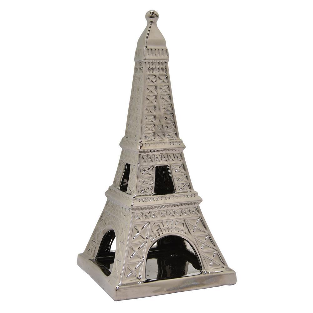 14.25 in. Ceramic Eiffel Tower in Silver