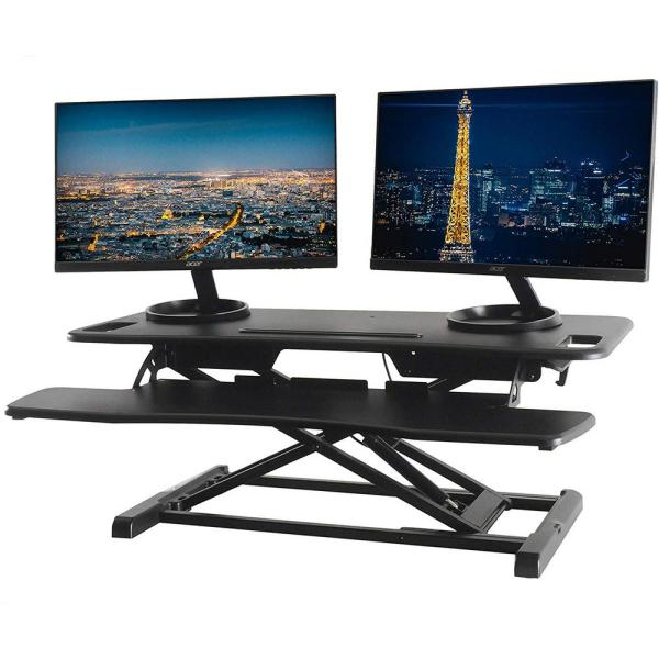Rise-X Pro Black 37 in. Height Adjustable Standing Desk Converter with Keyboard Tray - Sit to Stand Desk Riser