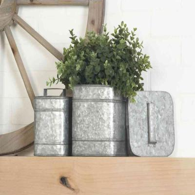 Square Iron Metal Boxes with Lids (Set of 2)