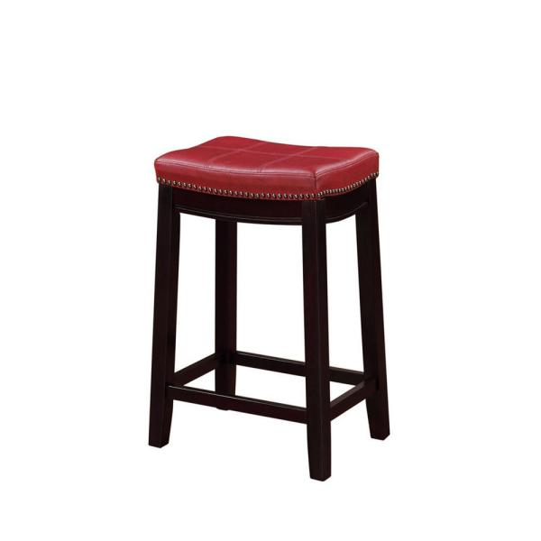 Linon Home Decor Claridge 26 in. Red Cushioned Counter Stool 55815RED01U