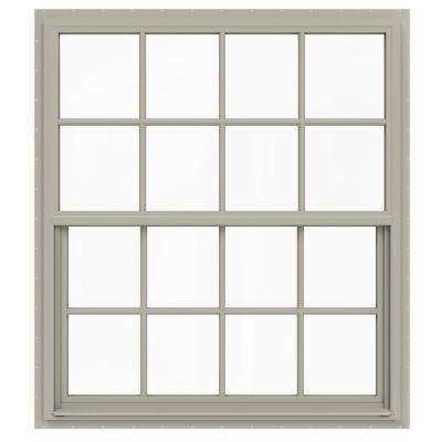 48 in. x 60 in. V-4500 Series Desert Sand Single-Hung Vinyl Window with 8-Lite Colonial Grids/Grilles