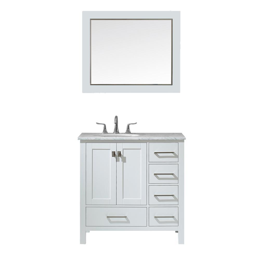 Gela 36 in. W x 22 in. D Bath Vanity in White with Marble Vanity Top in White with White Basin, Faucet and Mirror