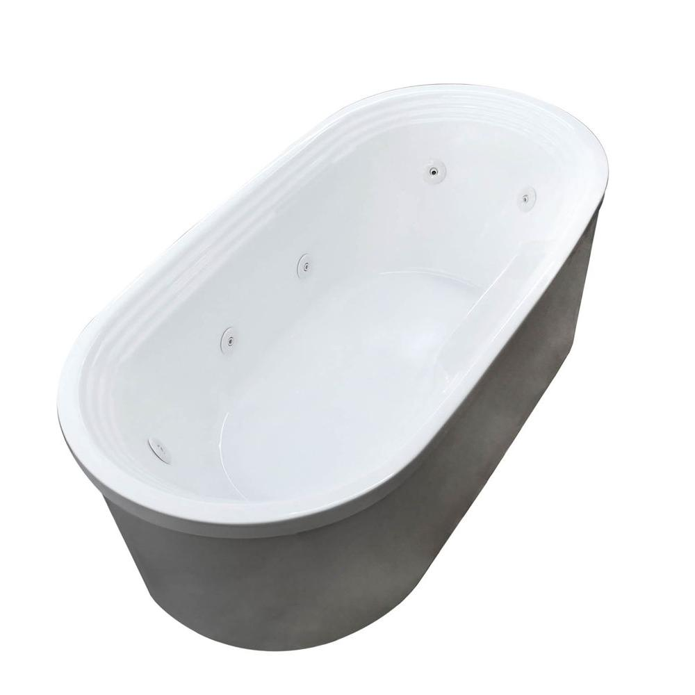 Pearl 5.6 ft. Acrylic Center Drain Flatbottom Whirlpool Bathtub in White