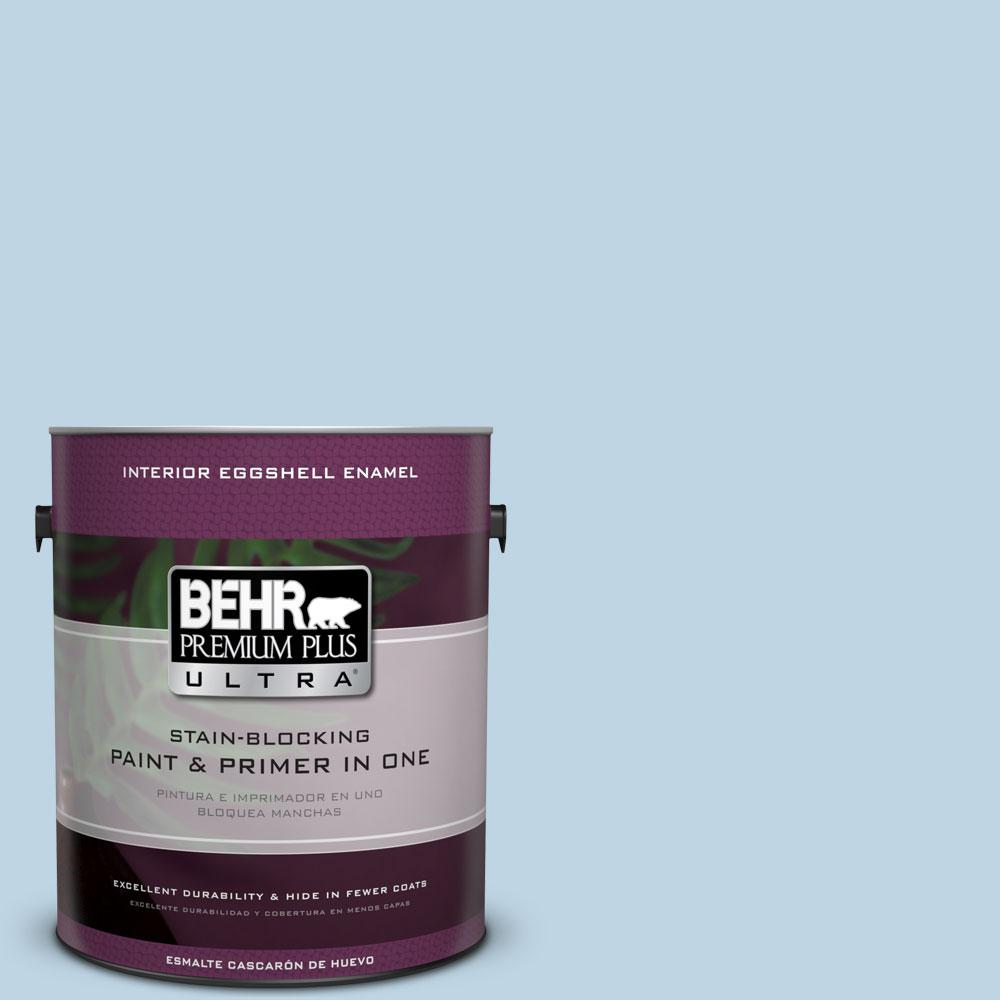 BEHR Premium Plus Ultra 1 gal. #S490-2 Glacial Stream Eggshell Enamel Interior Paint and Primer in One