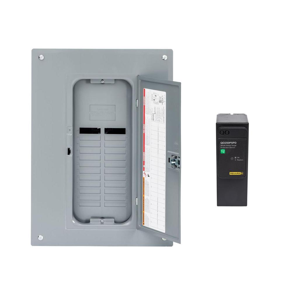 QO 125 Amp 24-Space 24-Circuit Indoor Main Lug Qwik-Grip Plug-On Neutral Load Center - Ground Bar, Surge SPD Value Pack