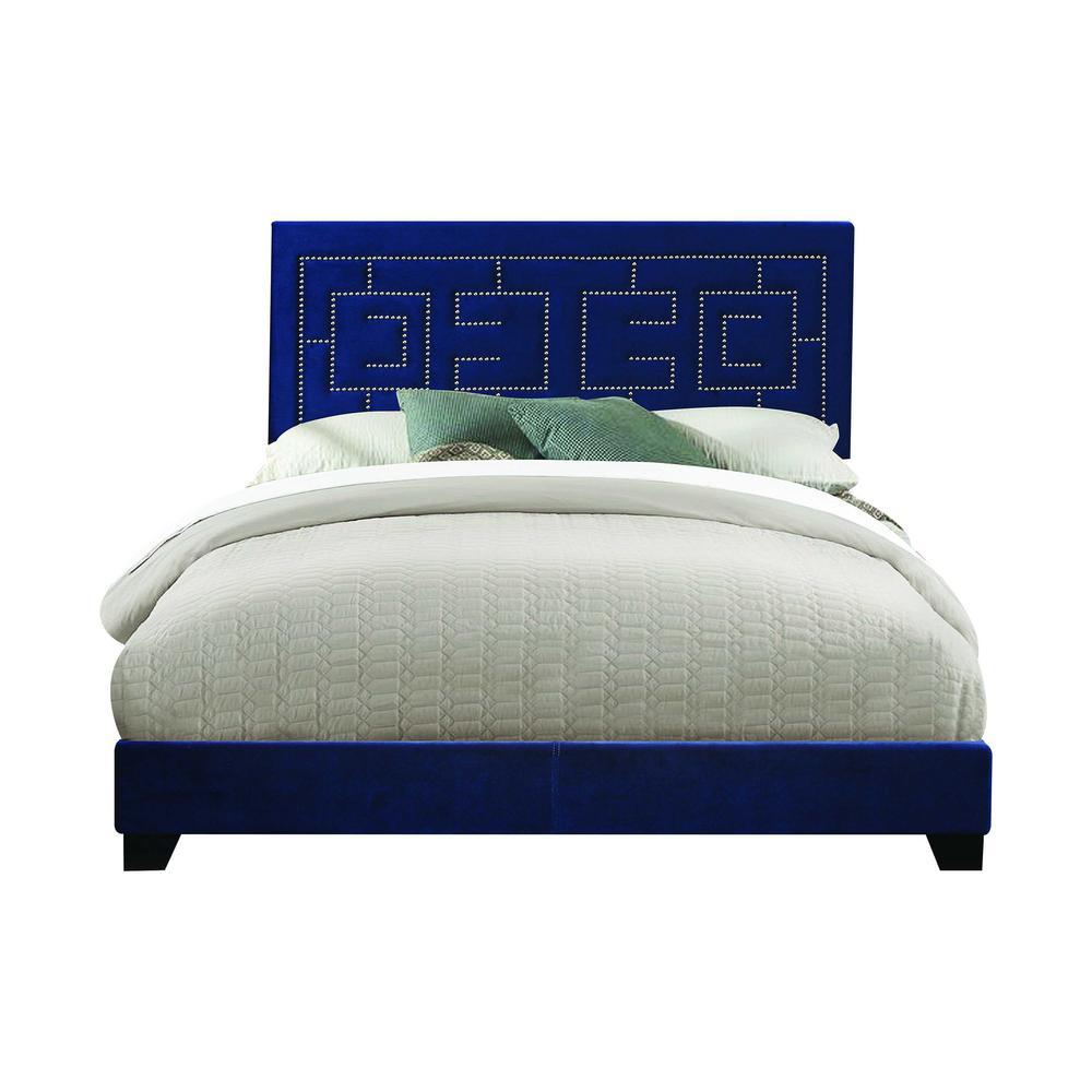 Amelia Dark Blue Velvet Upholstered (Bed) Wood Leg Queen Bed