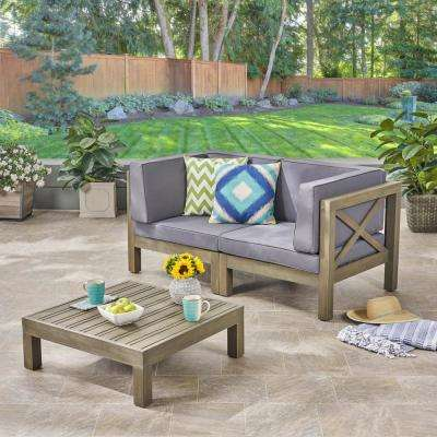 Hadlee Gray 3-Piece Wood Patio Conversation Set with Dark Gray Cushions