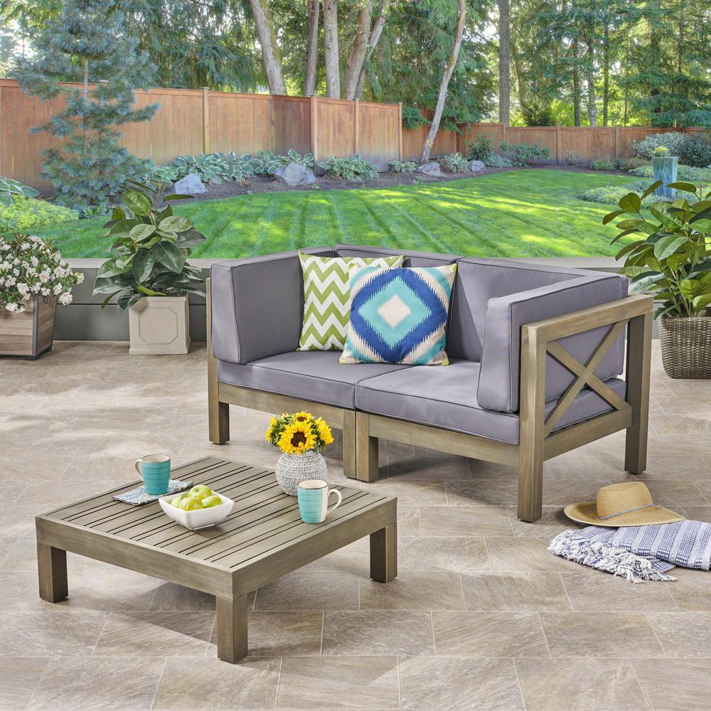 Hadlee Gray 3-Piece Wood Patio Conversation Set with Dark Gray Cushions