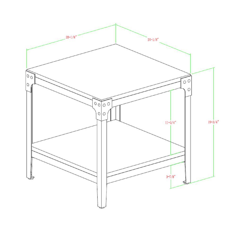 Walker Edison Furniture Company Rustic Wood End Side Table Set Of