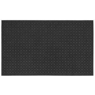 Textures Blocks Onxy 36 in. x 60 in. Impressions Door Mat