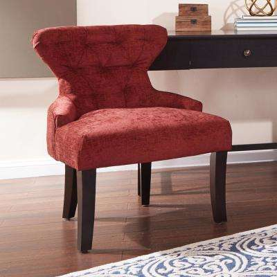 Walker Cranapple Fabric Curves Hour Glass Accent Chair with Espresso Legs