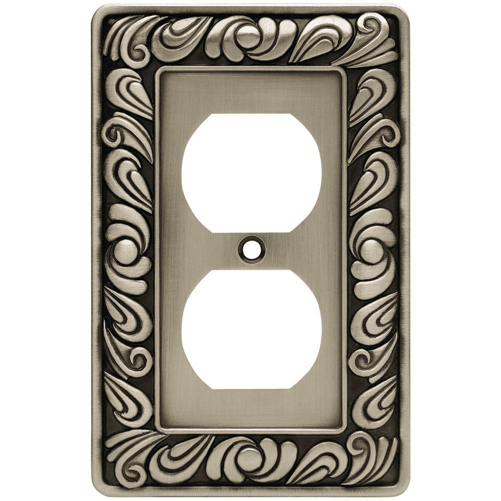 Liberty Paisley Decorative Single Duplex Outlet Cover Brushed Satin Pewter