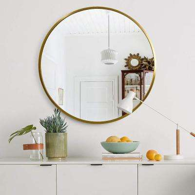NeuType 32 inches Large Modern and Contemporary Gold Aluminum Alloy Metal Framed Round Bathroom/Vanity/Wall Mounting