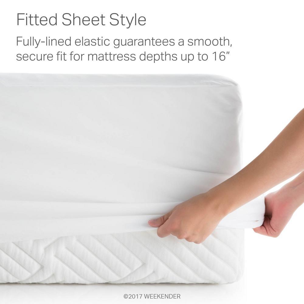 Weekender Hotel-Grade White 5-Sided Jersey Full XL Mattress Protector by Weekender