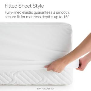 Weekender Hotel-Grade White 5-Sided Jersey Queen Mattress Protector by Weekender