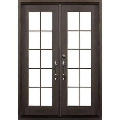 62 in. x 81.5 in. Flat Top Key Largo Dark Bronze Full Lite Painted Wrought Iron Prehung Front Door (Hardware Included)