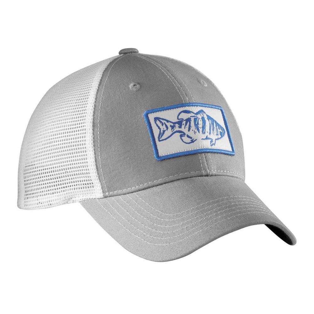 Gray and White Bass Trucker Hat