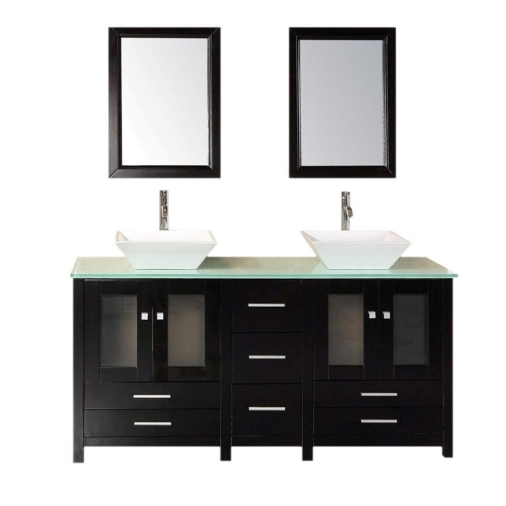 Design Element Arlington 61 in. W x 22 in. D Vanity in Espresso with Tempered Glass Vanity Top and Mirror in Aqua Green