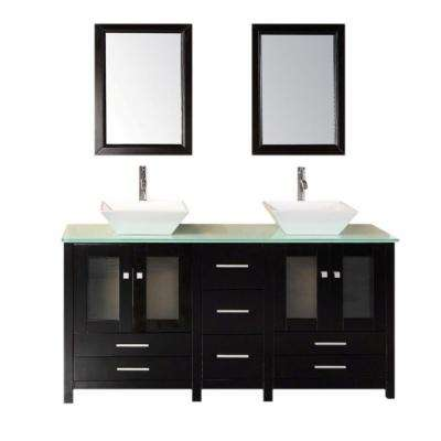 Arlington 61 in. W x 22 in. D Vanity in Espresso with Tempered Glass Vanity Top and Mirror in Aqua Green