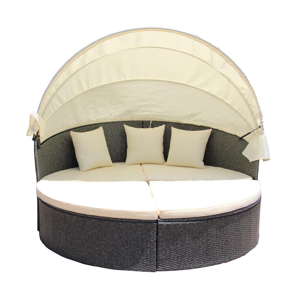 Gray 2-Piece Wicker Patio Conversation Set with Cream Cushions