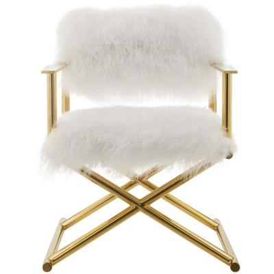 Action Pure Gold White Cashmere Accent Director's Chair