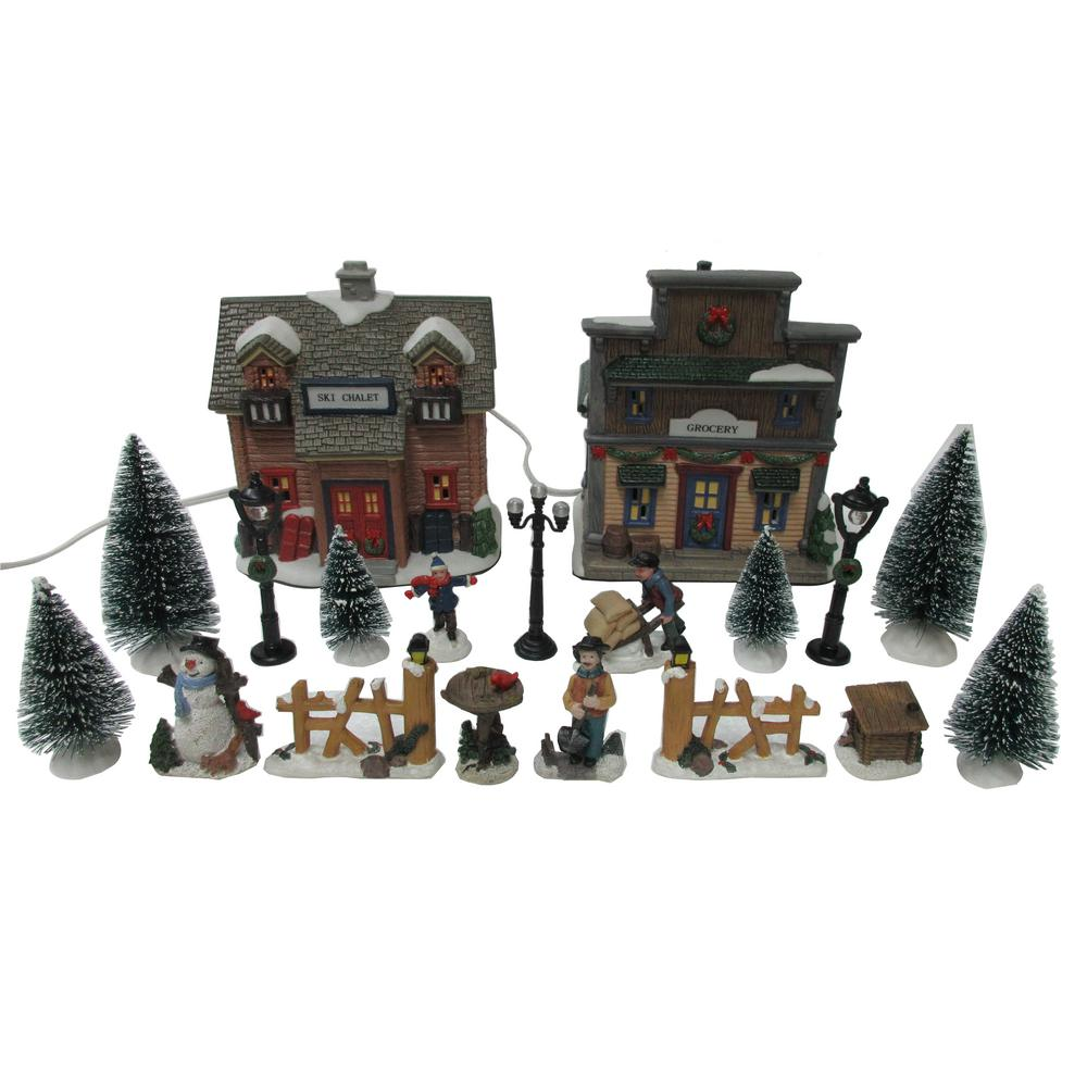 Christmas Village Sets.Home Accents Holiday 5 72 In H Christmas Village Set Ski Chalet