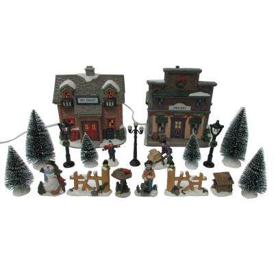 572 in h christmas village set ski chalet - Christmas Village Decorations