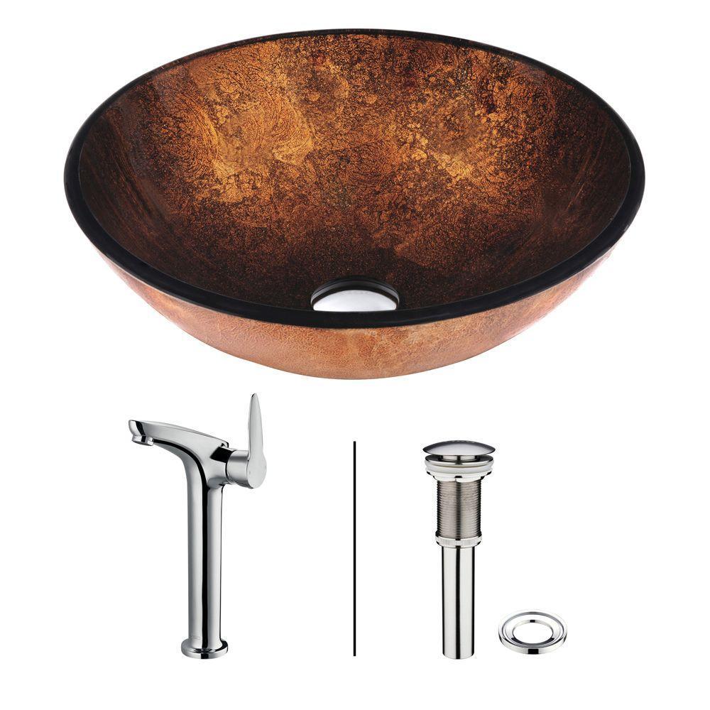 Vigo Bronco Vessel Sink in Brown with Faucet