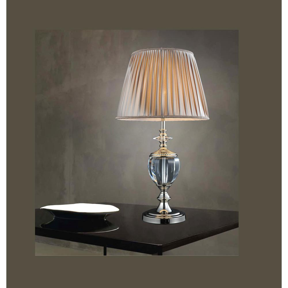 CWI Lighting Yale 27 in. Silver Table Lamp with Beige Shade