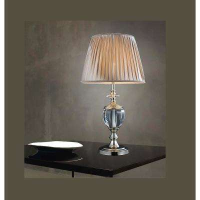 Yale 27 in. Silver Table Lamp with Beige Shade